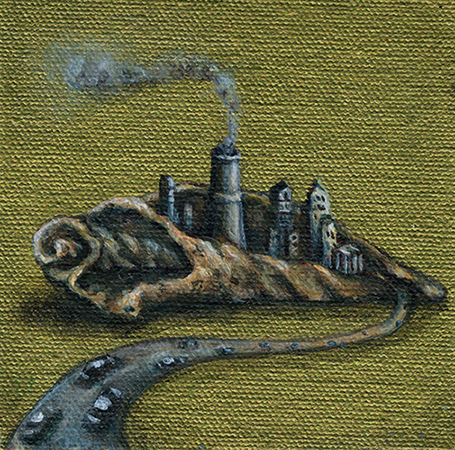 Surreal shell city painting